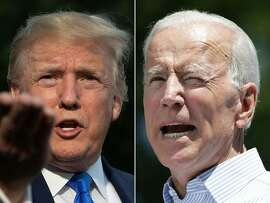 """(COMBO) This combination of pictures created on June 11, 2019 shows US President Donald Trump(L) as he departs the White House, in Washington, DC, on June 2, 2019, and former US vice president Joe Biden during the kick off his presidential election campaign in Philadelphia, Pennsylvania, on May 18, 2019. - Donald Trump and his leading Democratic challenger Joe Biden were to deliver dueling speeches on June 11, 2019 across the important 2020 battleground state of Iowa in a foretaste of what promises to be a bad tempered and volatile presidential election. Biden, 76, called his presence in the midwestern state on the same day as Trump, 72, a coincidence. But his speech will aim at the core of the Republican president's narrative, branding Trump """"an existential threat to America."""" (Photos by Jim WATSON and Dominick Reuter / AFP)JIM WATSON,DOMINICK REUTER/AFP/Getty Images"""