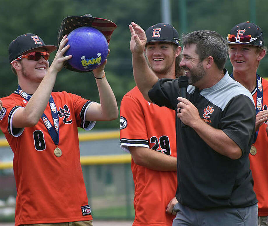 EHS catcher Dalton Wallace holds up the purple dodgeball during Sunday's celebration of the Class 4A state championship. Photo: Matt Kamp/The Intelligencer