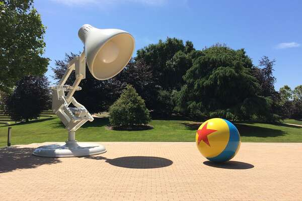 A photo of the Pixar hopping desk lamp, Luxo Jr., taken on the Pixar campus in Emeryville, CA on May 18, 2017.