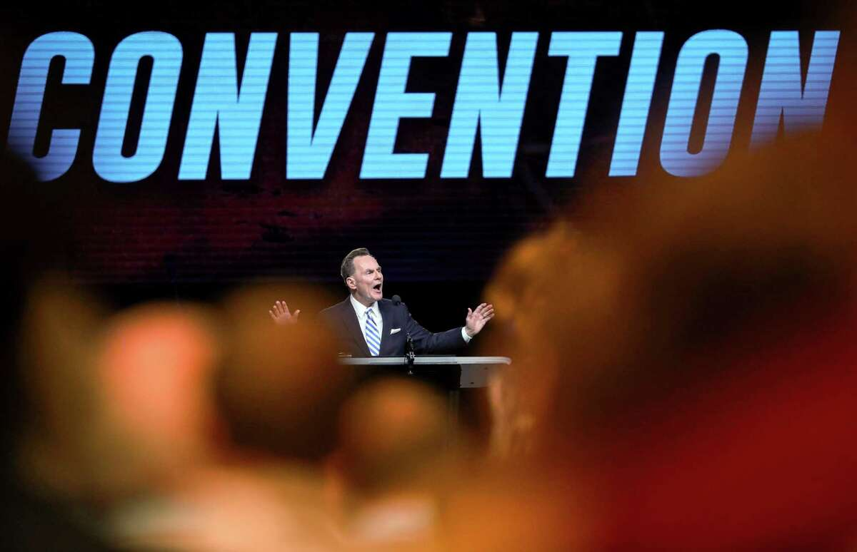 Ronnie Floyd, president and CEO of the Southern Baptist Convention's Executive Committee, speaks before the introduction of new motions on the first day of the SBC's annual meeting on Tuesday, June 11, 2019, in Birmingham.