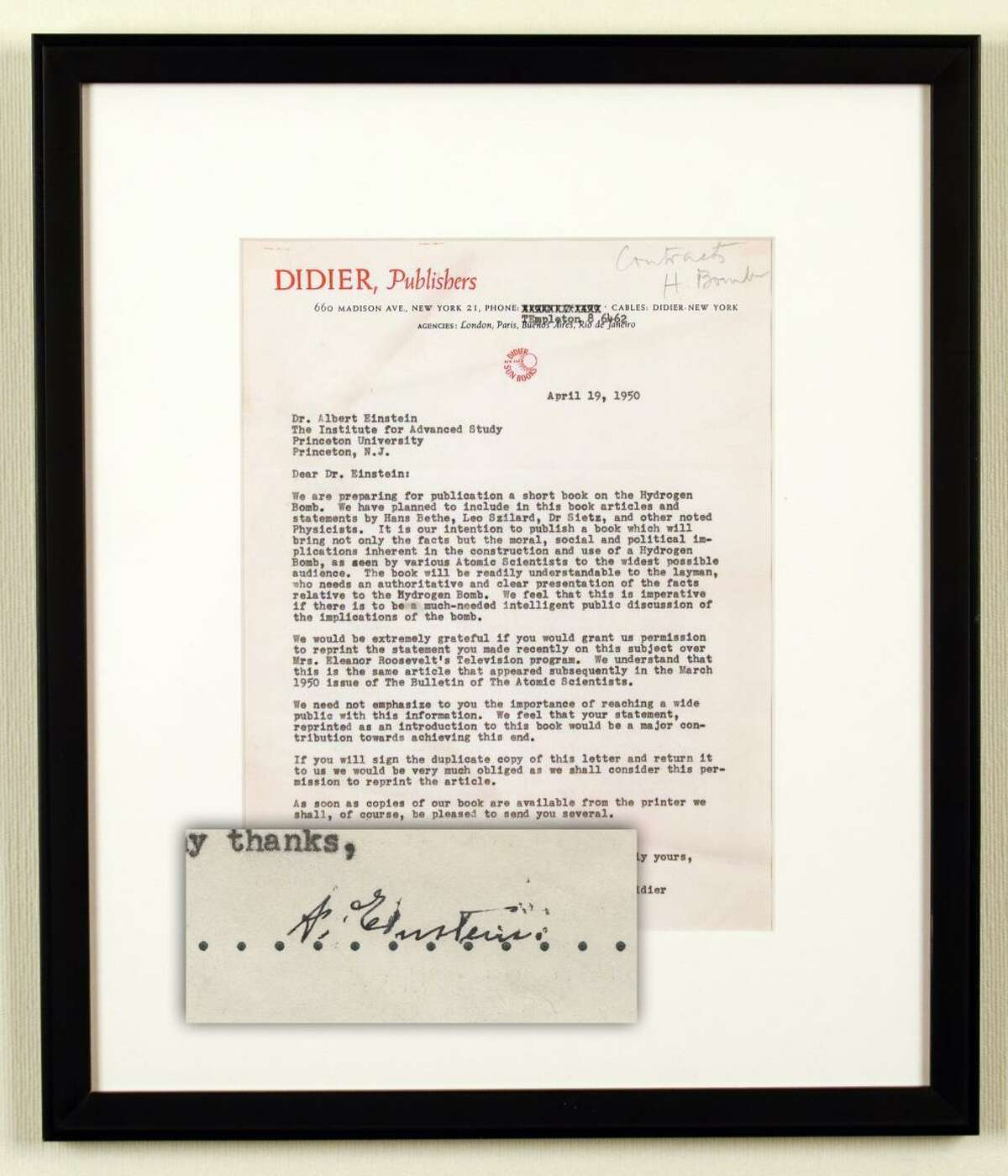 A letter typed and signed by Albert Einstein regarding the development and use of the hydrogen bomb.