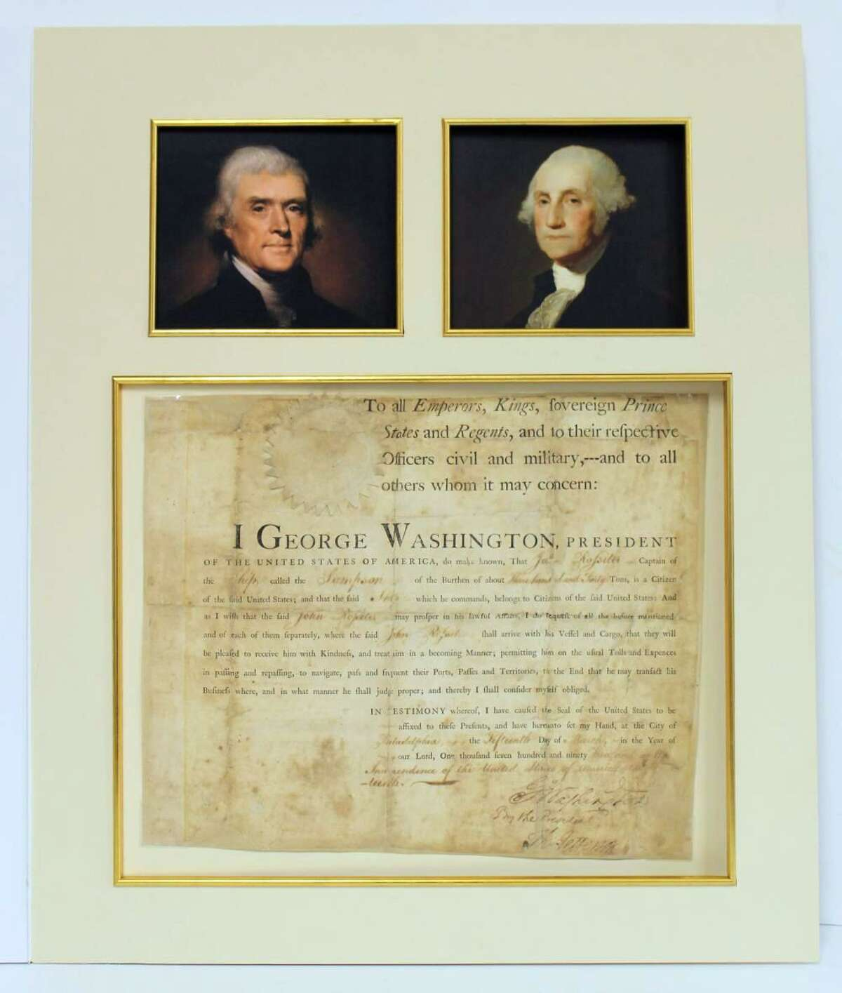 A ship passport March 15, 1793 signed by George Washington and Thomas Jefferson regarding the British-seized ship