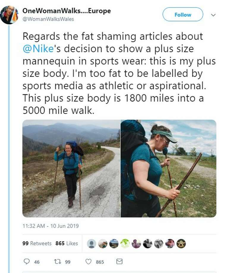 @WomanWalksWales: Regards the fat shaming articles about @Nike's decision to show a plus size mannequin in sports wear: this is my plus size body. I'm too fat to be labelled by sports media as athletic or aspirational. This plus size body is 1800 miles into a 5000 mile walk. Photo: Twitter