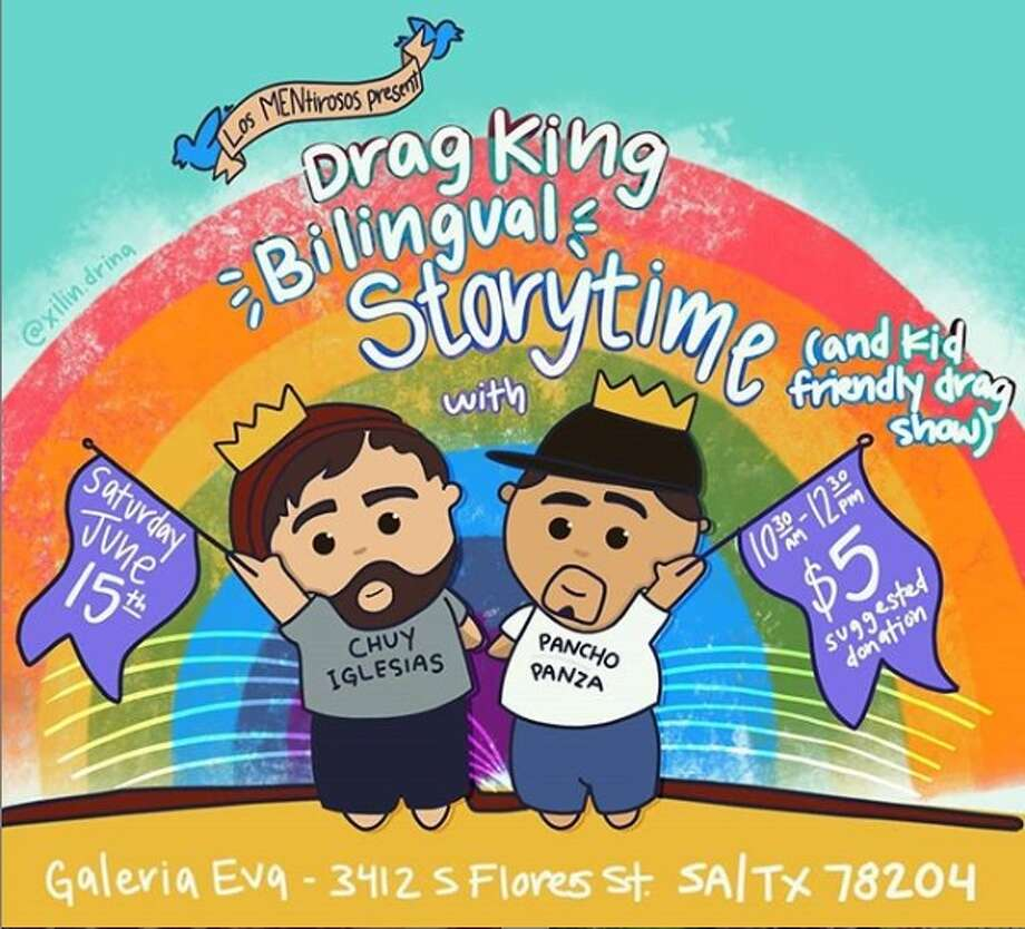 Drag King Bilingual Storytime with Chuy Iglesias and Pancho Panza is Saturday, June 15 from 10:30 a.m. to 12:30 p.m. at Galeria Eva, 3412 S. Flores St. Photo: Instagram: @reinxdewestside