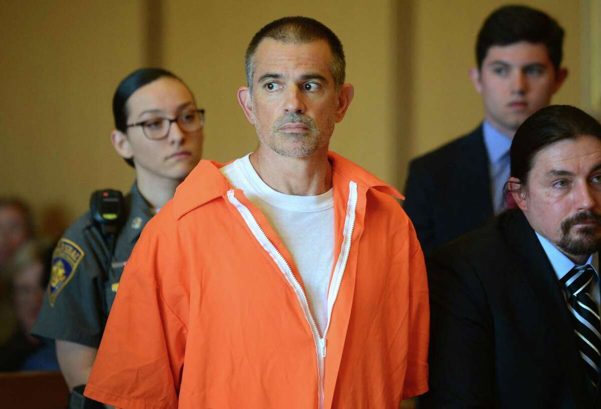 Fotis Dulos and his legal team including Norm Pattis, left, appeal bond in his appearance for tampering with evidence and hindering the investigation into the disappearance of his wife Jennifer Dulos at Stamford Superior Court on Tuesday in Stamford.