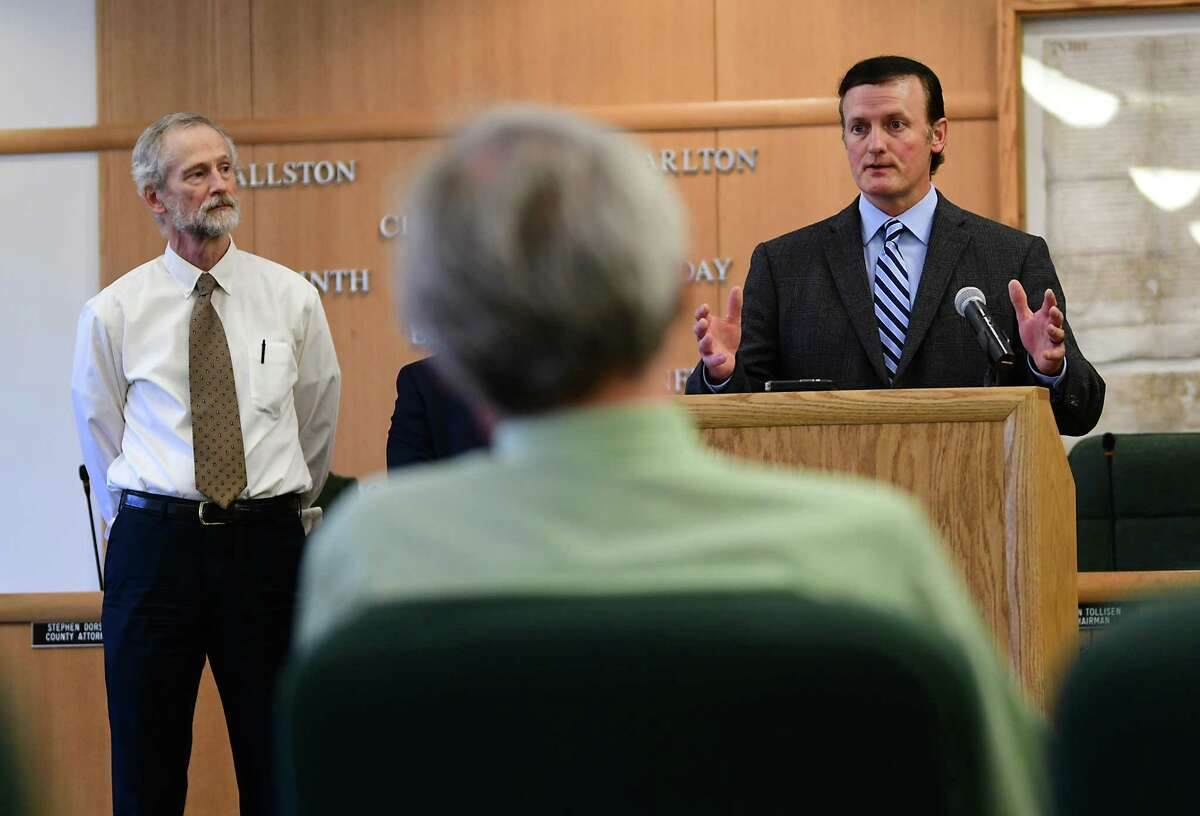 Clifton Park Town Supervisor Phil Barrett, right, speaks as Saratoga County during a press conference at the Saratoga County Office Building on Tuesday, June 11, 2019 in Ballston Spa N.Y. Malta Town Supervisor Darren O'Connor listens at left, (Lori Van Buren/Times Union)