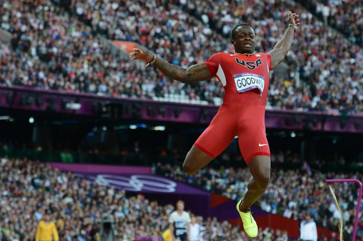 US' Marquise Goodwin competes during the men's long jump at the athletics event of the London 2012 Olympic Games on August 4, 2012 in London. AFP PHOTO / FRANCK FIFEFRANCK FIFE/AFP/GettyImages