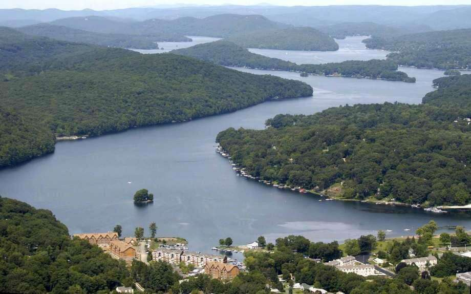 An aerial view of Candlewood Lake, which is bordered by Danbury, Brookfield, New Milford, New Fairfield and Sherman. Photo: File Photo / David Harple
