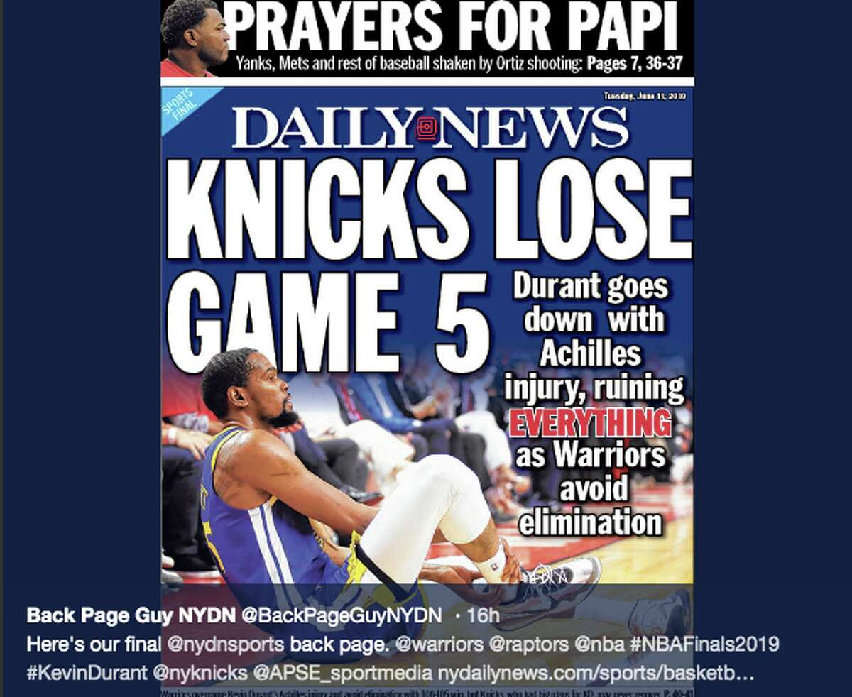 The back page of the New York Daily News after Kevin Durant suffered an Achilles injury in Game 5 of the 2019 NBA Finals.