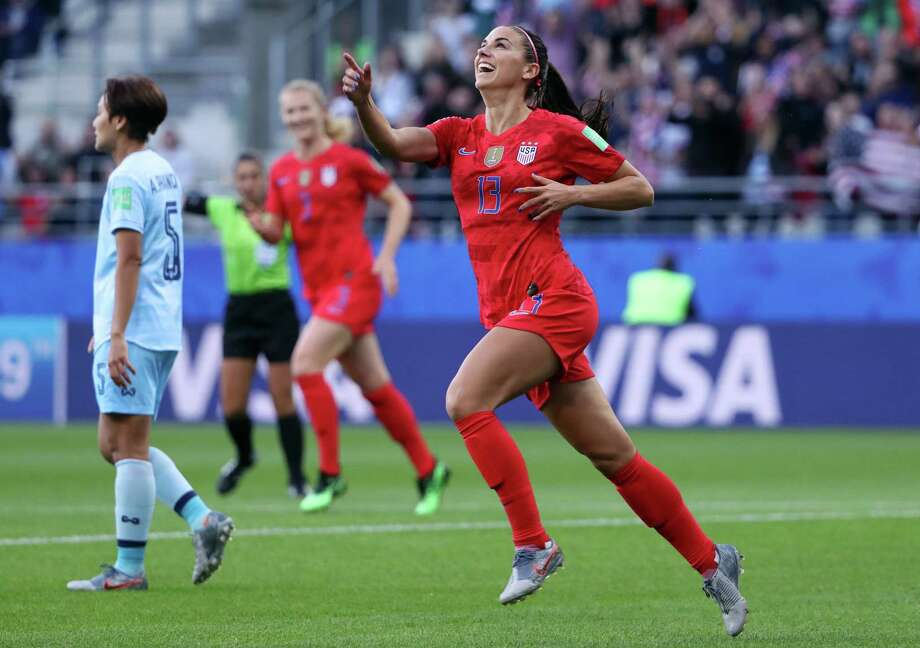 PHOTOS: All the United States' goal celebrations in the win over Thailand REIMS, FRANCE - JUNE 11: Alex Morgan of the USA celebrates after scoring her team's first goal during the 2019 FIFA Women's World Cup France group F match between USA and Thailand at Stade Auguste Delaune on June 11, 2019 in Reims, France. Photo: Robert Cianflone, Getty Images / 2019 Getty Images