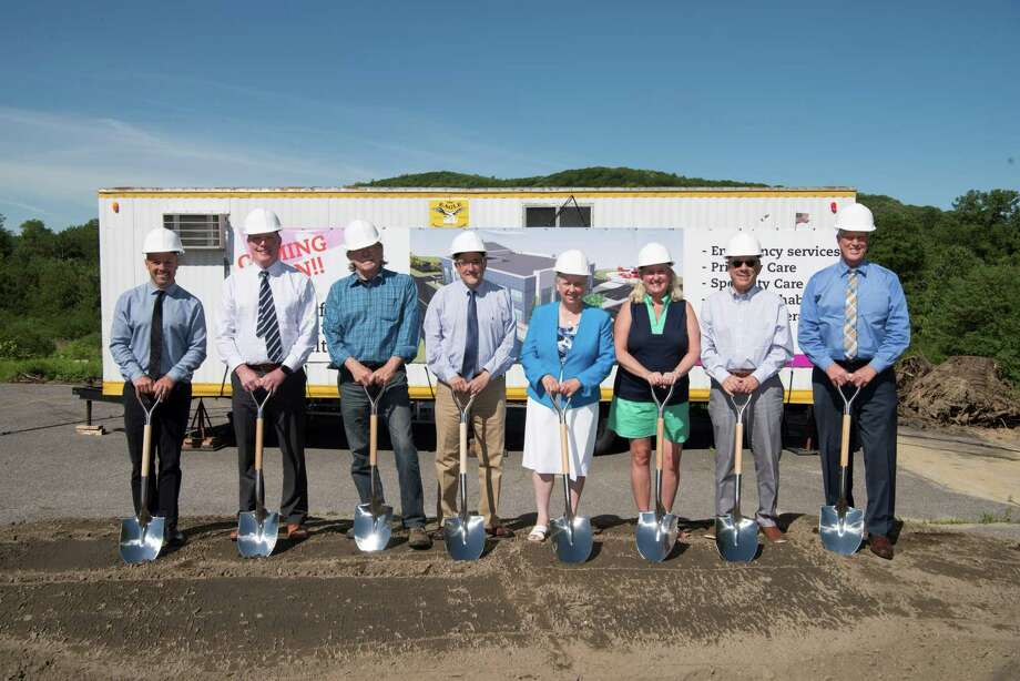 HHC and CHH held a groundbreaking June 8 for the new, state-of-the-art facility at its future site at the corner of Routes 8 and 44 in Winsted. From left are Brian Mattiello, Regional VP for Strategy and Organizational Development; Kevin Teeling, Clinical Manager of Hungerford Emergency Medical Center; Robert Geiger, Winsted Town Manager; John Capobianco, HHC VP for Operations; Winsted Mayor Candy Perez; Karen Goyette, HHC Senior VP for Strategy and System Integration; David Sessions, President of CASLE Corporation; and Daniel McIntyre, HHC Senior VP, Northwest Region President. Photo: Charlotte Hungerford Hospital / Contributed Photos /