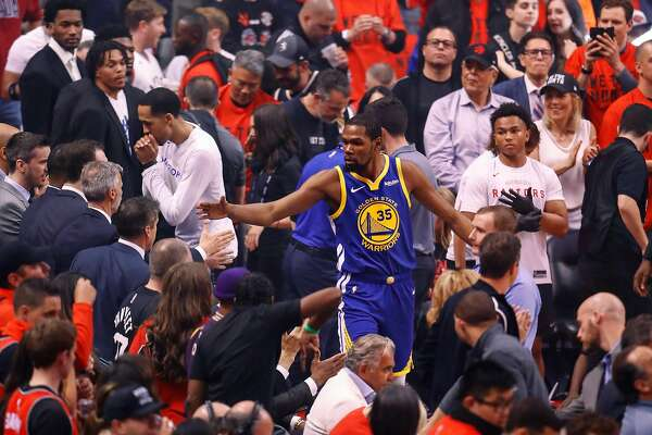 Golden State Warriors' Kevin Durant walks towards the floor before game 5 of the NBA Finals between the Golden State Warriors and the Toronto Raptors at Scotiabank Arena on Monday, June 10, 2019 in Toronto, Ontario, Canada.