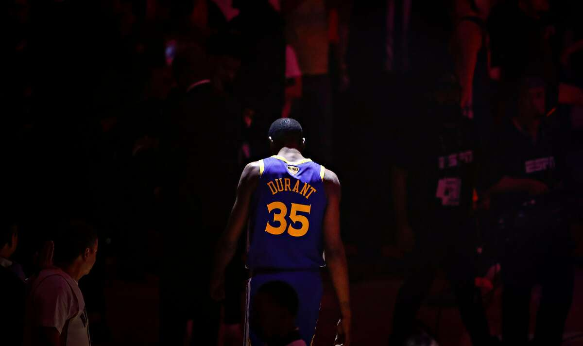 Golden State Warriors� Kevin Durant is seen during pregame ceremonies before game 5 of the NBA Finals between the Golden State Warriors and the Toronto Raptors at Scotiabank Arena on Monday, June 10, 2019 in Toronto, Ontario, Canada.