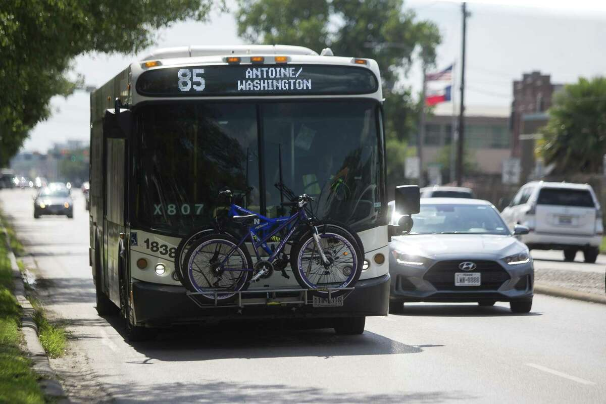 A Metro Route 85 bus approaches the stop at Washington Avenue and Studemont in Houston, Monday, June 10, 2019.