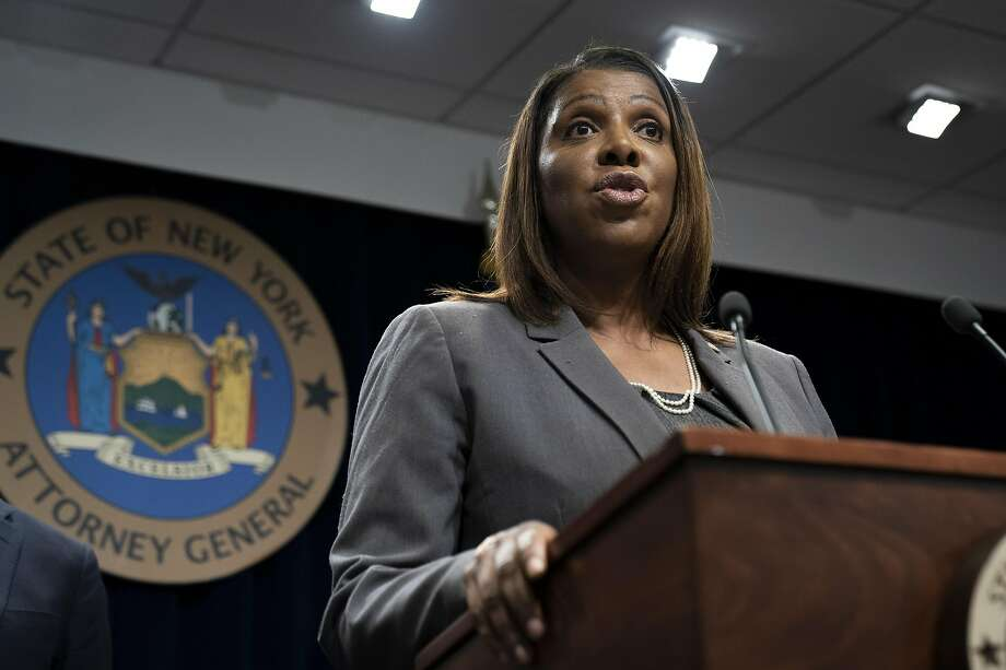JUNE 11: New York Attorney General Letitia James speaks during a press conference, June 11, 2019 in New York City. James announced that New York, California, and seven other states have filed a lawsuit seeking to block the proposed merger between Sprint and T-Mobile. James said that the merger would deprive customers of the benefits of competition and potentially drive up prices for cellphone service. (Photo by Drew Angerer/Getty Images) Photo: Drew Angerer, Getty Images