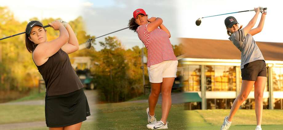 Lamar University golfers Eva Martinez, Elodie Chapelet and Laura Pasalodos-Barcelo (left to right). Photo provided by Lamar Athletics. Photo: Lamar Athletics