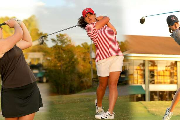 Lamar University golfers Eva Martinez, Elodie Chapelet and Laura Pasalodos-Barcelo (left to right). Photo provided by Lamar Athletics.