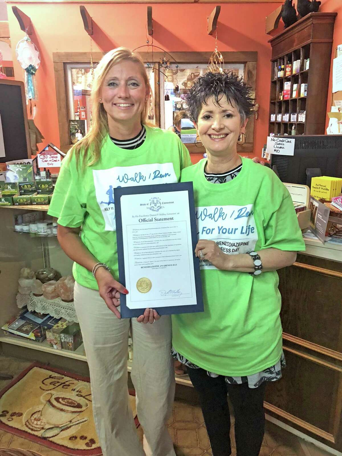 In 2018, state Rep. Michelle Cook (D-Torrington) bestowed a proclamation signed by Gov. Dannel Malloy to Pam Pinto, Connecticut representative for World Benzodiazepine Awareness Day, a victim-organized campaign seeking to raise awareness about the dangers of prescribed benzodiazepines, following a Walk/Run for Your Life event. Pinto, owner of Act Natural Health and Wellness, 24 Water St.,Torrington, is holding the walk again on July 11.