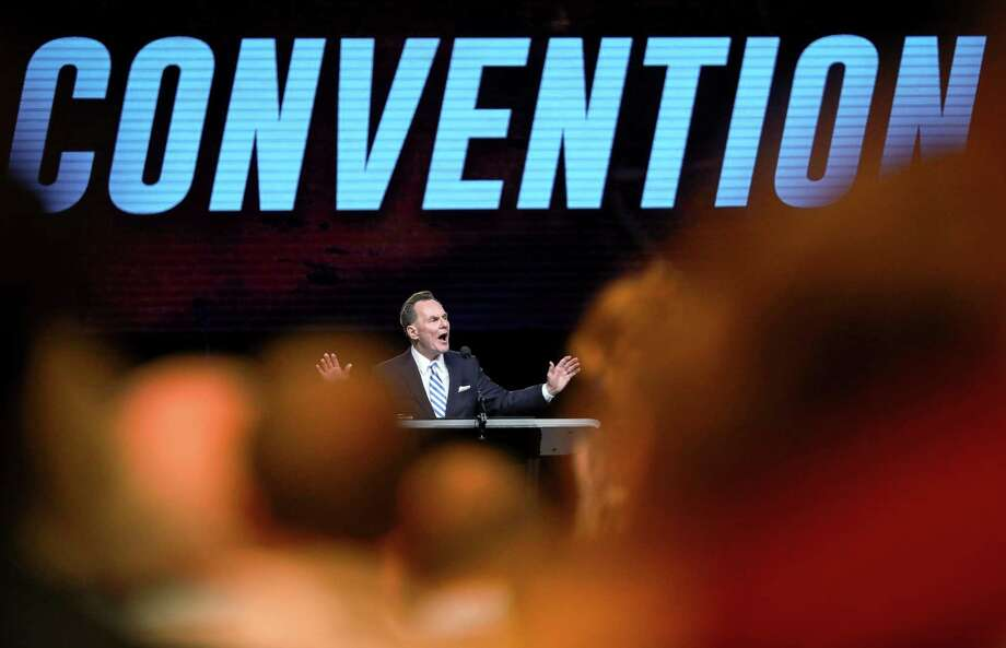 Ronnie Floyd, president and CEO of the Southern Baptist Convention's Executive Committee, speaks before the introduction of new motions on the first day of the SBC's annual meeting on Tuesday, June 11, 2019, in Birmingham. Photo: Jon Shapley, Houston Chronicle / Staff Photographer / © 2019 Houston Chronicle