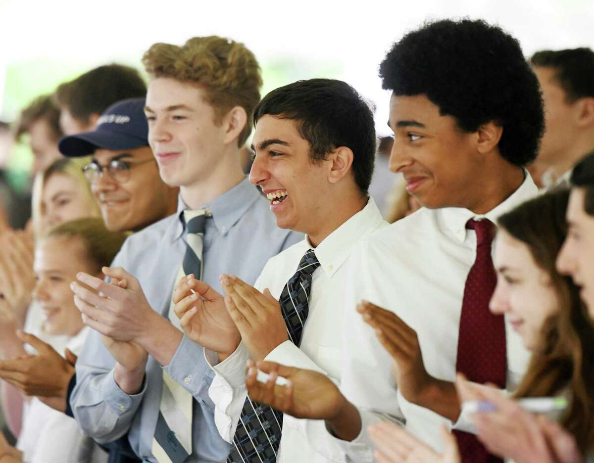 Junior Tyler Brown, center, and others thank their Upper School teachers during the 2018-2019 Closing Ceremony at Stanwich School in Greenwich, Conn. Tuesday, June 11, 2019. The ceremony urged students not to forget the lessons they've learned at Stanwich, as the school will merge with Greenwich Country Day School next year.
