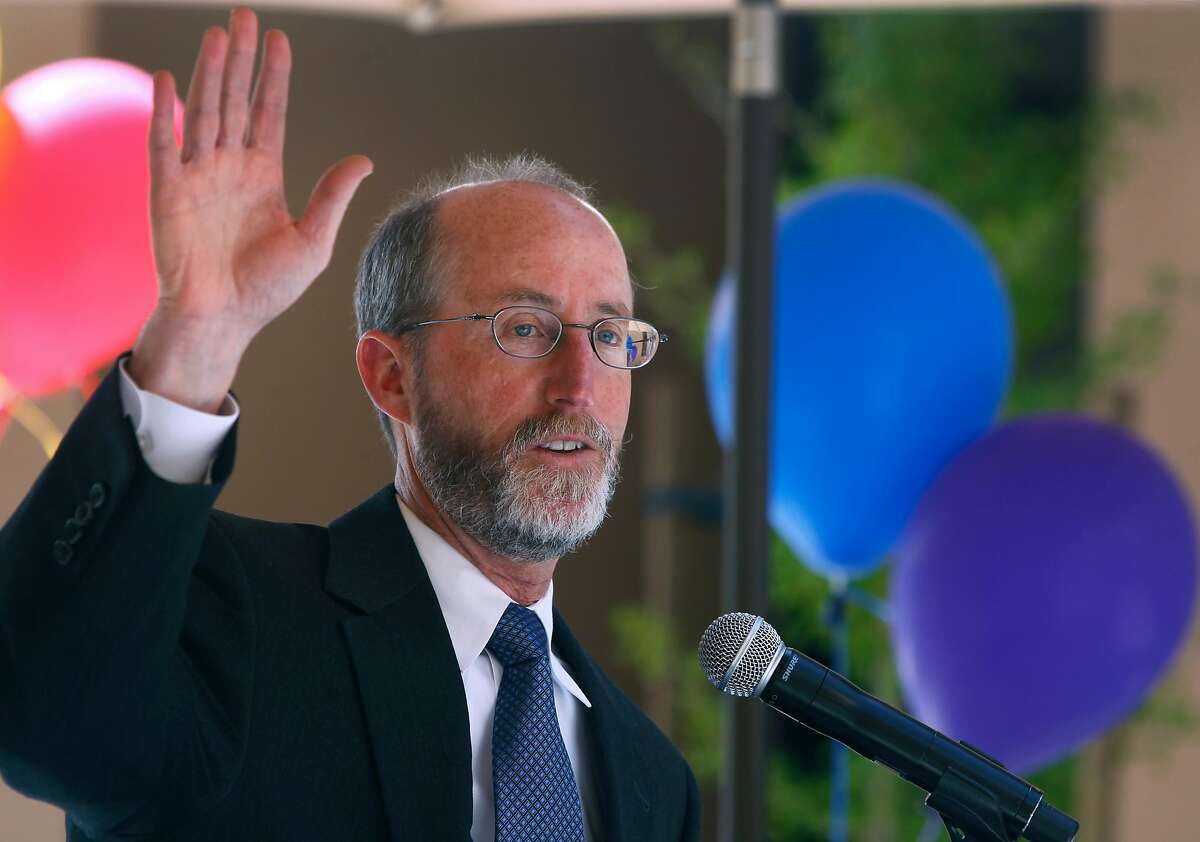Orinda mayor Steve Glazer speaks to a crowd gathered for the grand opening of an affordable apartment complex for seniors in Orinda, Calif. on Thursday, April 9, 2015. Glazer is facing a runoff election in May against Assemblywoman Susan Bonilla for the 7th District Senate seat which opened up when Mark DeSaulnier was elected to the U.S. Congress.