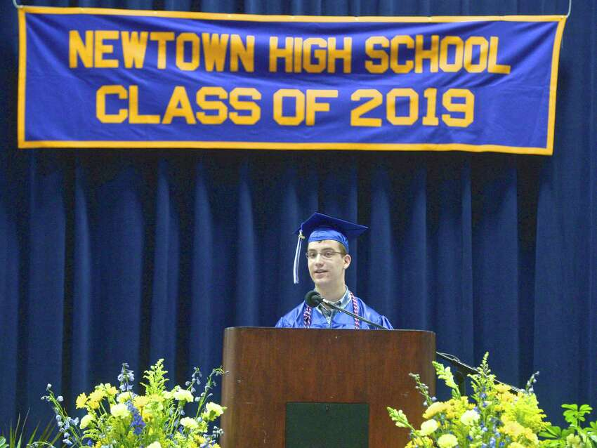 Bryan Ingwersen gives the valedictory address during the 2019 Commencement Exercises of Newtown High School. June 11, 2019, at the O'Neill Center of Western Connecticut State University, Danbury, Conn.
