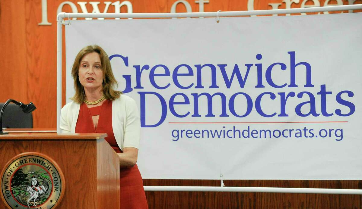 Democratic candidate Jill Oberlander and Sandy Litvack formally kick off their campaign for the offices of Greenwich First Selectman and Selectman before hundreds of supporters gathering in the town hall meeting room on June 11, 2019 in Greenwich, Connecticut.