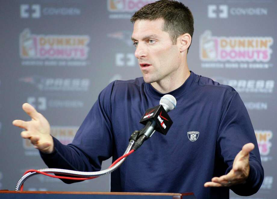 New England Patriots director of player personnel Nick Caserio speaks with the media during a press conference during NFL football training camp, Sunday, Aug. 1, 2010, in Foxborough, Mass. (AP Photo/Stew Milne) Photo: Associated Press, FRE / ASSOCIATED PRESS / AP2010