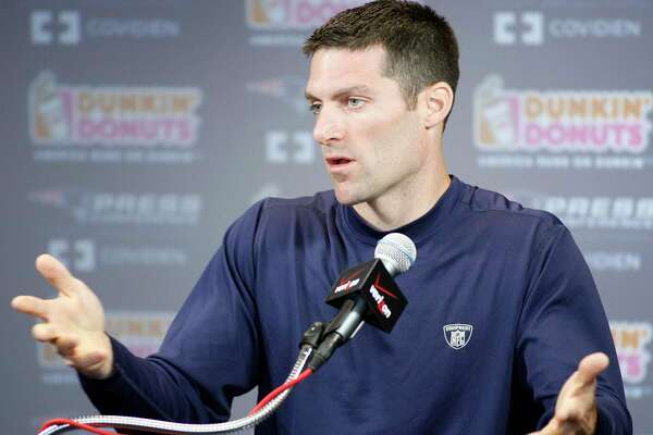 New England Patriots director of player personnel Nick Caserio speaks with the media during a press conference during NFL football training camp, Sunday, Aug. 1, 2010, in Foxborough, Mass. (AP Photo/Stew Milne)
