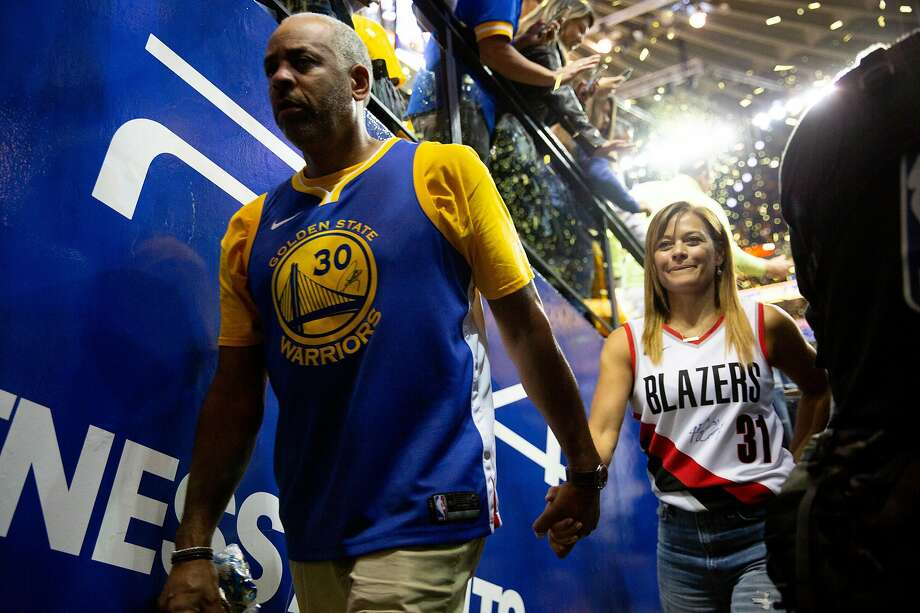 From left: Dell Curry and Sonya Curry following Game 1 of the Western Conference Finals between the Golden State Warriors and the Portland Trailblazers at Oracle Arena on Tuesday, May 14, 2019, in Oakland, Calif. Photo: Santiago Mejia / The Chronicle