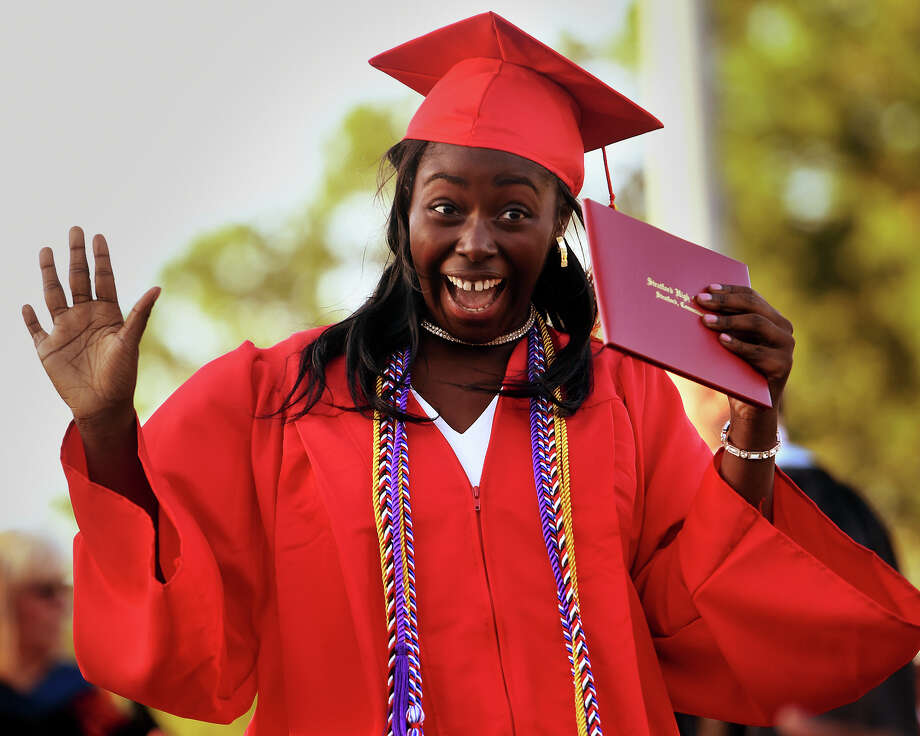 Graduate Raissatou Karim celebrates after receiving her diploma at the Stratford High School Graduation in Stratford, Conn. on Tuesday, June 11, 2019. Photo: Brian A. Pounds, Hearst Connecticut Media / Connecticut Post
