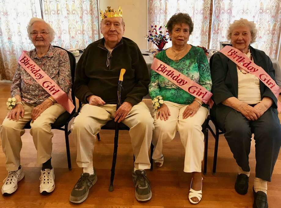 Hilltop Center, the senior center in Bridgewater, recently celebrated April and May birthdays with a birthday social. Among the participants were, from left to right, Chris Johnson, 99, Ken Gaffney and Jean Kavanek, both 90, and Marian Spodnick, 93. Photo: Courtesy Of Hilltop Centers / The News-Times Contributed