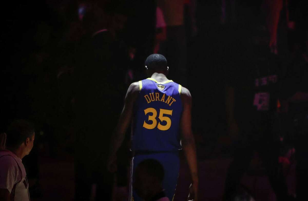 Golden State Warriors' Kevin Durant is seen during pregame ceremonies before game 5 of the NBA Finals between the Golden State Warriors and the Toronto Raptors at Scotiabank Arena on Monday, June 10, 2019 in Toronto, Ontario, Canada.