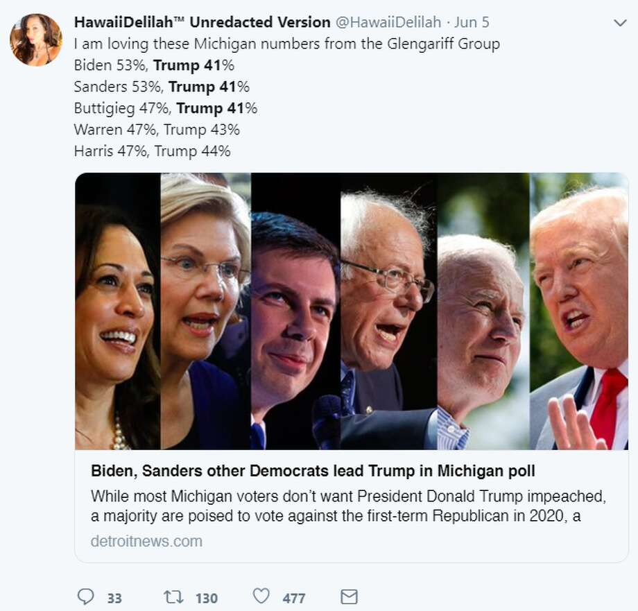 Trump polling as low as 41 percent against 6 Democratic challengersTwitter had fun after a new poll showed President Donald Trump losing to six Democratic challengers in the 2020 election, with Trump polling as low as 41 percent. Photo: Twitter Screenshot