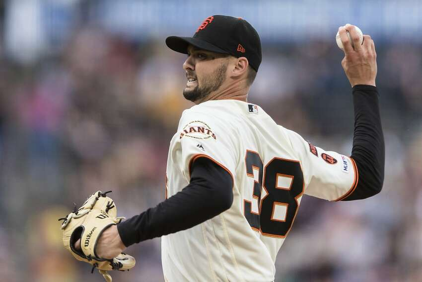 San Francisco Giants starting pitcher Tyler Beede throws to a San Diego Padres batter in the third inning of a baseball game, Tuesday, June 11, 2019 in San Francisco. (AP Photo/John Hefti)