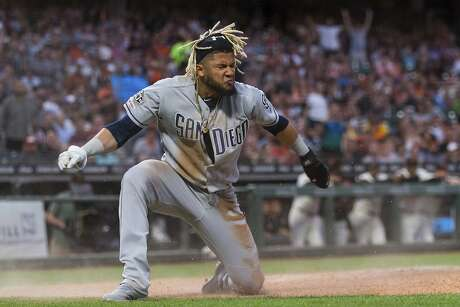 San Diego Padres Fernando Tatis Jr. reacts after scoring against the San Francisco Giants in the fifth inning of a baseball game, Tuesday, June 11, 2019 in San Francisco. (AP Photo/John Hefti) Photo: John Hefti / Associated Press