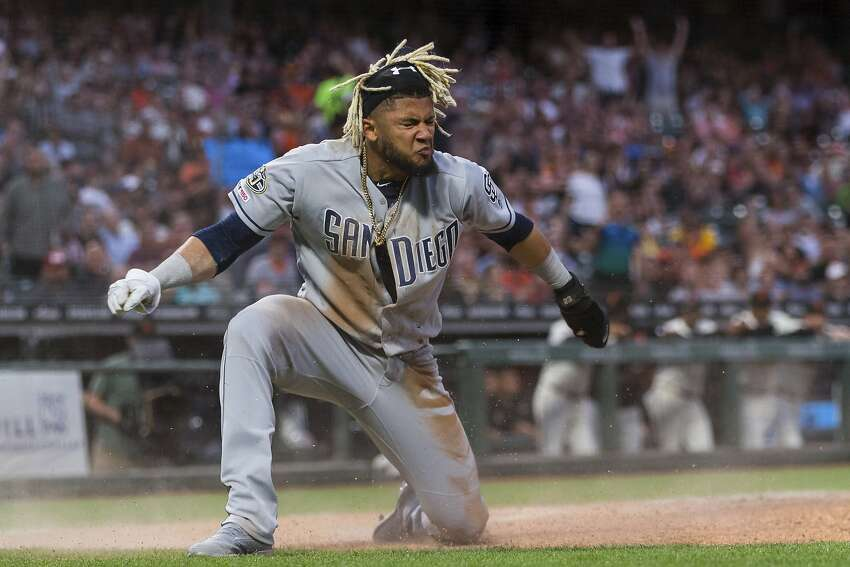 San Diego Padres Fernando Tatis Jr. reacts after scoring against the San Francisco Giants in the fifth inning of a baseball game, Tuesday, June 11, 2019 in San Francisco. (AP Photo/John Hefti)