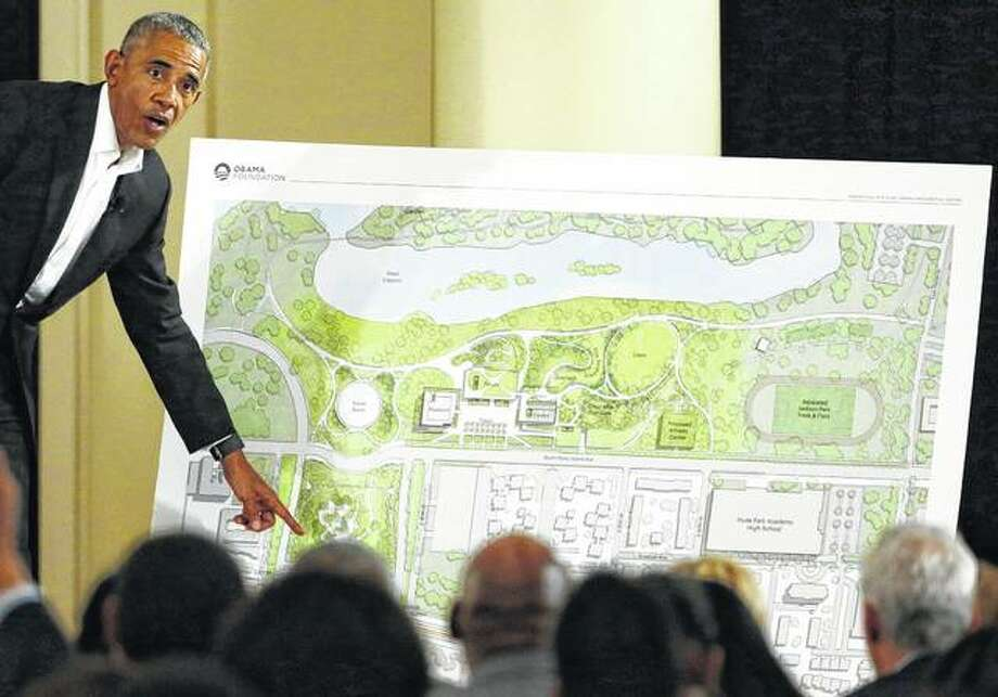 Former President Barack Obama speaks in May 2017 at a community event on the Presidential Center at the South Shore Cultural Center in Chicago. A judge has ruled that the Obama Presidential Center can go ahead with construction in Chicago's Jackson Park. Photo: Nam Y. Huh | Associated Press