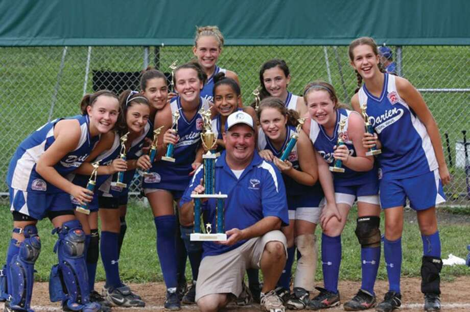 Darien Tidal Wave 12U Softball Team wins FCFSL Tournament Championship. Front  row, from left: Lexi Lopiano, Keli Reyes, Lauren Cicero, and Kelly Vodola. Second row: Mary Brown, Jordan Smith, Tyson Maley, Avery Maley, Christina Chariott, and Jessie Halstrom. Back row: Manager Frank Cicero, coaches Tony Imbimbo, Tracy Vodola, Chris Lopiano and Robert Maley. Missing from team photo: Sofia Imbimbo, Phoebe Luongo, Celia Martzolf and Eve Phelps. Photo: Contributed Photo / Darien News