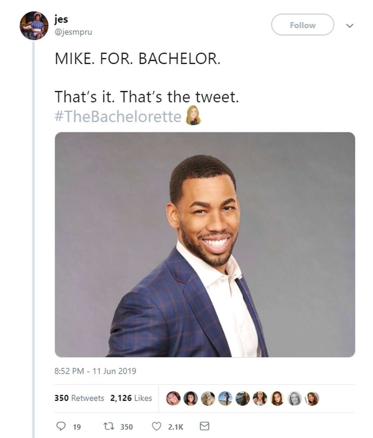 @jesmpru campaigns for Mike to be the next bachelor on Twitter.