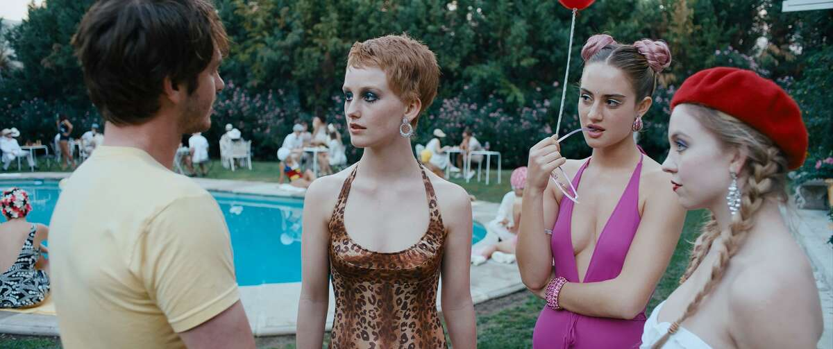 """Andrew Garfield, from left, India Menuez, Grace Van Patten and Sydney Sweeney in """"Under the Silver Lake."""" It's directed by David Robert Mitchell of """"It Follows"""" fame."""