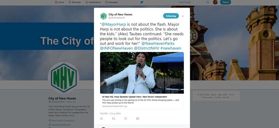 An image from the city of New Haven Twitter account promoting the campaign of Mayor Toni Harp.  Photo: An Image From The City Of New Haven Twitter Account Promoting The Campaign Of Mayor Toni Harp.