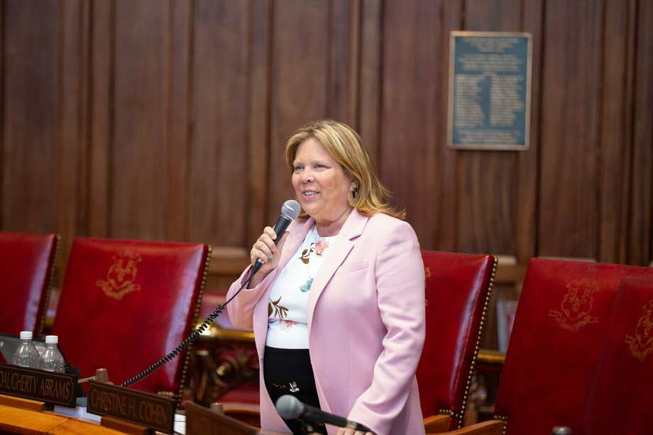 State Sen. Mary Abrams, D-Meriden, advocates for raising the age to purchase tobacco products on the Senate floor. Photo: Contributed Photo