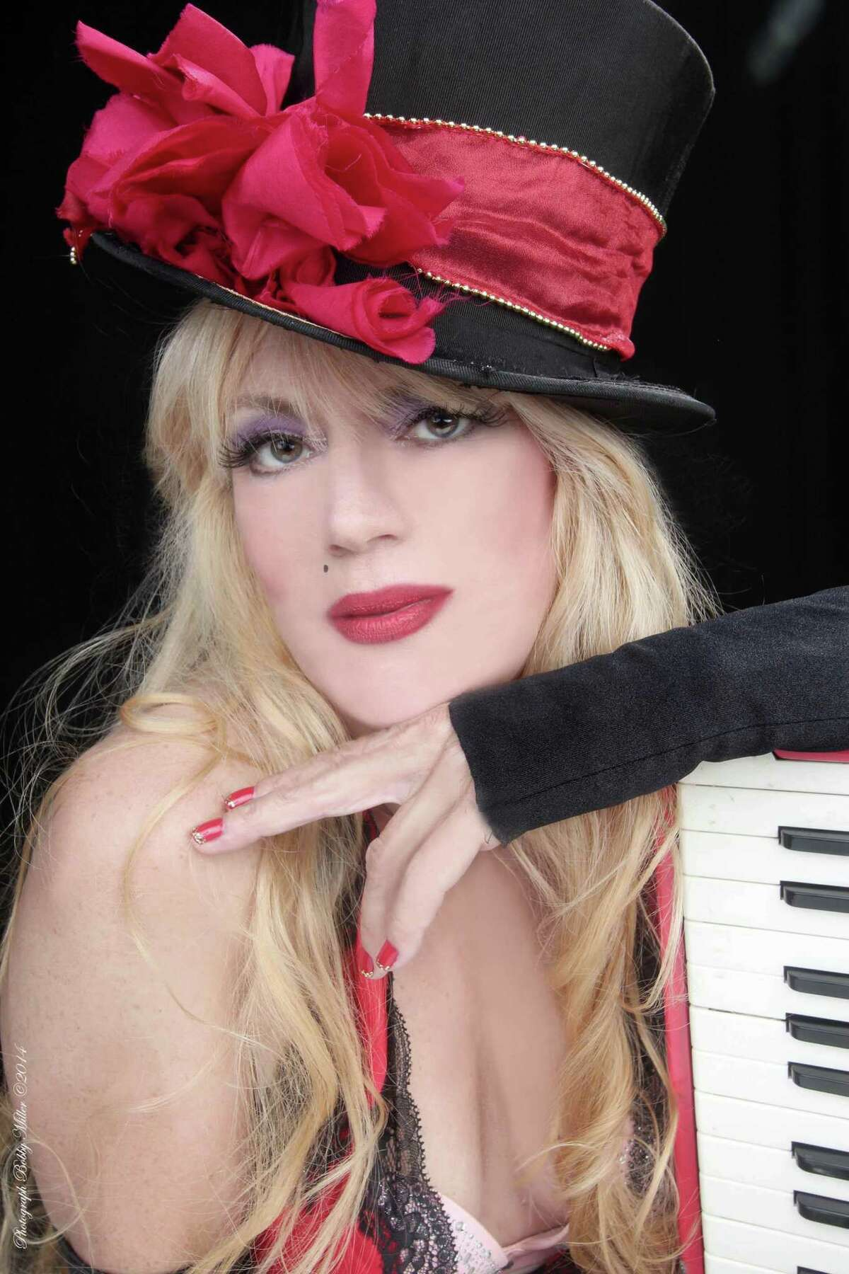 Phoebe Legere with her accordion.