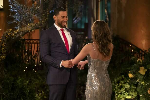 """THE BACHELORETTE - """"1501"""" - It's a tractor...It's a plane...It's the self-appointed king of the jungle! Hannah's search for fierce love is matched with fierce competition as one hopeful bachelor sets a high bar by jumping the fence, while another pops out from the limo, in true beast fashion. At the end of the day, whether he is a golf pro looking to be Hannah's hole-in-one, a Box King seeking a woman who checks all his boxes, or a man with a custom-made pizza delivery, everyone wants a piece of Hannah's heart on the highly anticipated 15th season of """"The Bachelorette,"""" premiering MONDAY, MAY 13 (8:00-10:01 p.m. EDT), on The Walt Disney Television via Getty Images Television Network. (John Fleenor/Walt Disney Television via Getty Images via Getty Images) MIKE, HANNAH BROWN"""