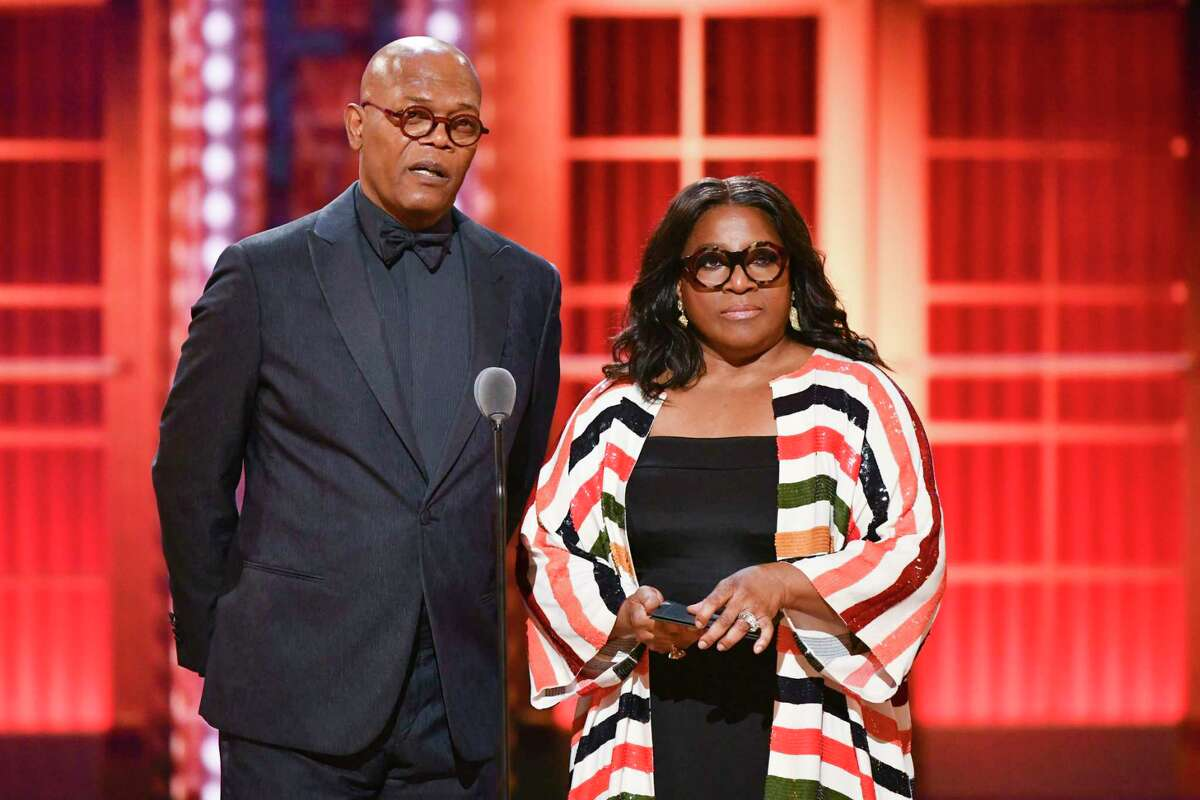 Samuel L. Jackson, left, and LaTanya Richardson speak at the 73rd annual Tony Awards at Radio City Music Hall on Sunday, June 9, 2019, in New York. (Photo by Charles Sykes/Invision/AP)