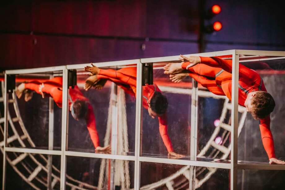 Streb Extreme Action company members will perform at 7 pm Friday, June 14, at the Frances Young Tang Teaching Museum and Art Gallery; photo courtesy the artists. (Courtesy: Streb Extreme Action)