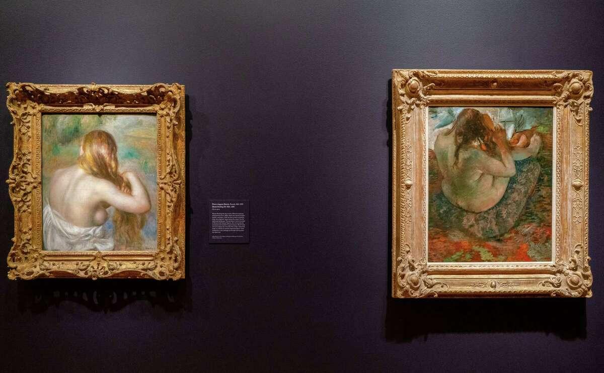 Renoir, Blonde Braiding Her Hair, 1886, and Degas, Woman Brushing Her Hair, 1884. Both oil on canvas. Photo Wm Jaeger