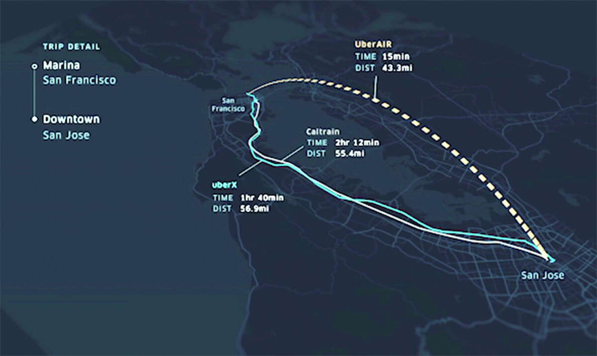 Uber Air trip comparison between the Marina in San Francisco and downtown San Jose.