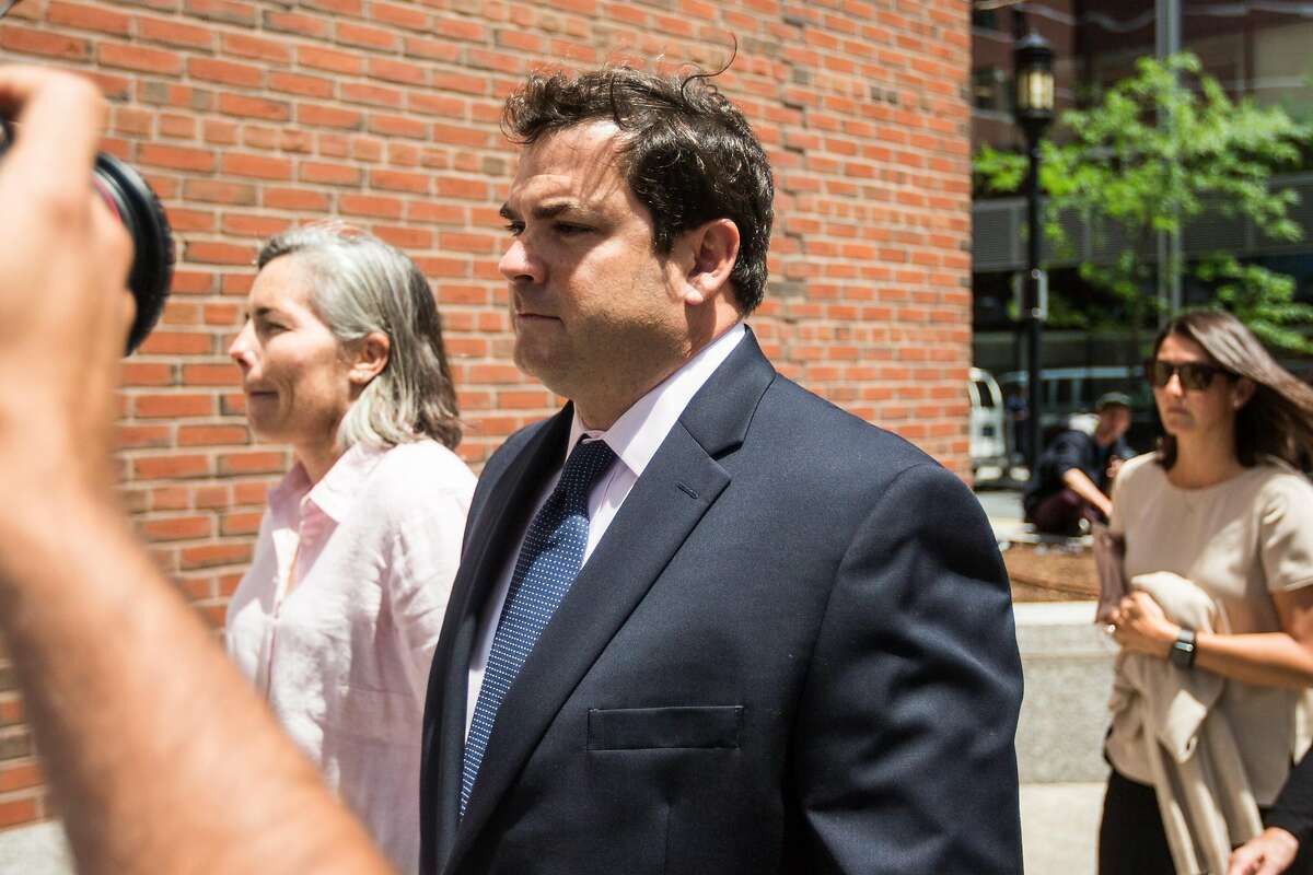 BOSTON, MA - JUNE 12: Stanford University sailing coach John Vandemoer walks into the John Joseph Moakley United States Courthouse on June 12, 2019 in Boston, Massachusetts. Vandemoer is being sentenced In Boston Court over the college admissions scandal. (Photo by Scott Eisen/Getty Images)